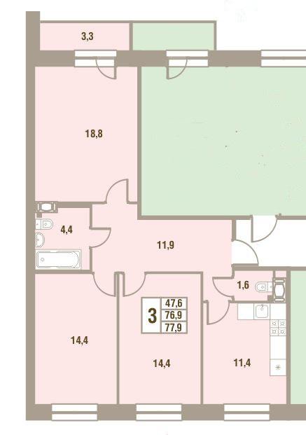 Планировка Трёхкомнатная квартира площадью 77.9 кв.м в ЖК «Дом у Сиреневой аллеи»