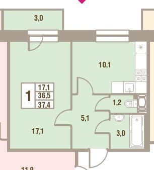 Планировка Однокомнатная квартира площадью 37.4 кв.м в ЖК «Дом у Сиреневой аллеи»