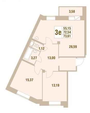 Планировка Трёхкомнатная квартира площадью 73.61 кв.м в ЖК «Дом у Сиреневой аллеи»
