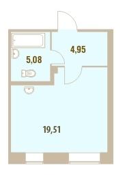Планировка Студия площадью 29.65 кв.м в ЖК «Дом у Сиреневой аллеи»