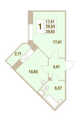 Планировка Однокомнатная квартира площадью 39.65 кв.м в ЖК «Дом у Сиреневой аллеи»