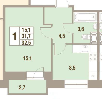 Планировка Однокомнатная квартира площадью 32.5 кв.м в ЖК «Дом у Сиреневой аллеи»