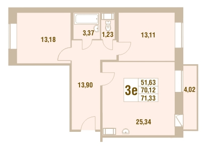 Планировка Трёхкомнатная квартира площадью 71.33 кв.м в ЖК «Дом у Сиреневой аллеи»