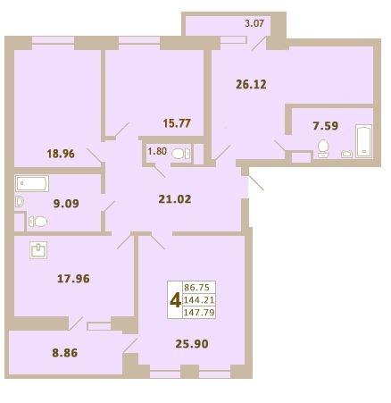 Планировка Четырёхкомнатная квартира площадью 147.84 кв.м в ЖК «Дом у Сиреневой аллеи»