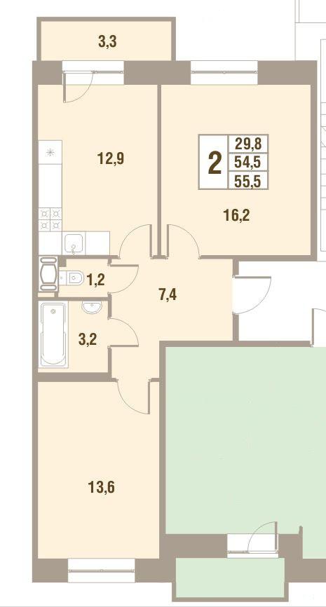 Планировка Двухкомнатная квартира площадью 55.5 кв.м в ЖК «Дом у Сиреневой аллеи»