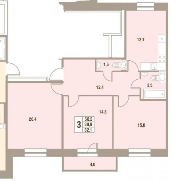 Планировка Трёхкомнатная квартира площадью 82.1 кв.м в ЖК «Дом у Сиреневой аллеи»