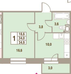 Планировка Однокомнатная квартира площадью 34.9 кв.м в ЖК «Дом у Сиреневой аллеи»