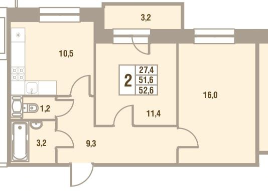 Планировка Двухкомнатная квартира площадью 52.6 кв.м в ЖК «Дом у Сиреневой аллеи»