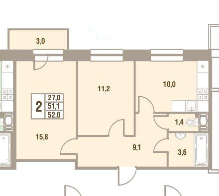 Планировка Двухкомнатная квартира площадью 52 кв.м в ЖК «Дом у Сиреневой аллеи»