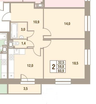 Планировка Двухкомнатная квартира площадью 60.9 кв.м в ЖК «Дом у Сиреневой аллеи»